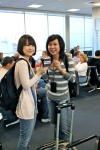 Danielle and Pei-Yu with our mock-up product at Houston IAH. Always so photogenic!